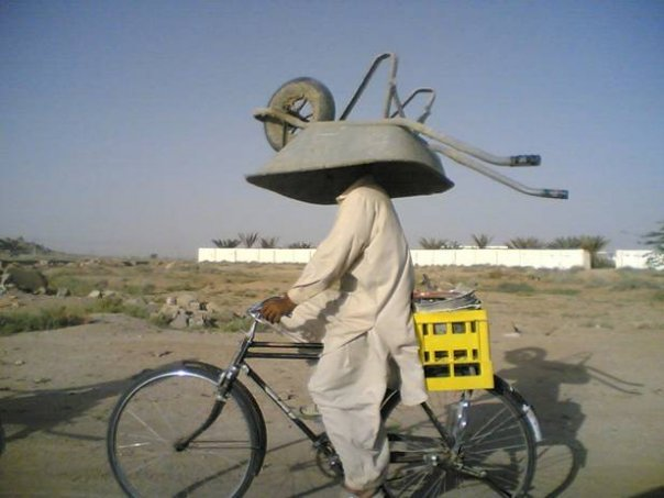 Bicycle wheelbarrow transport