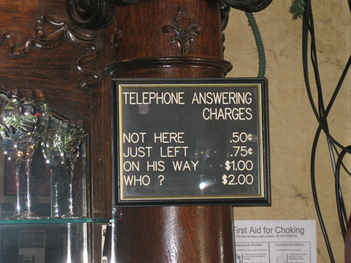 Answering The Telephone. Telephone answering charges