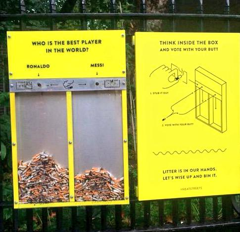Cigarette butts voting