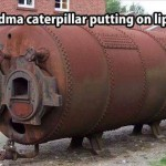 Grandma caterpillar putting on lipstick