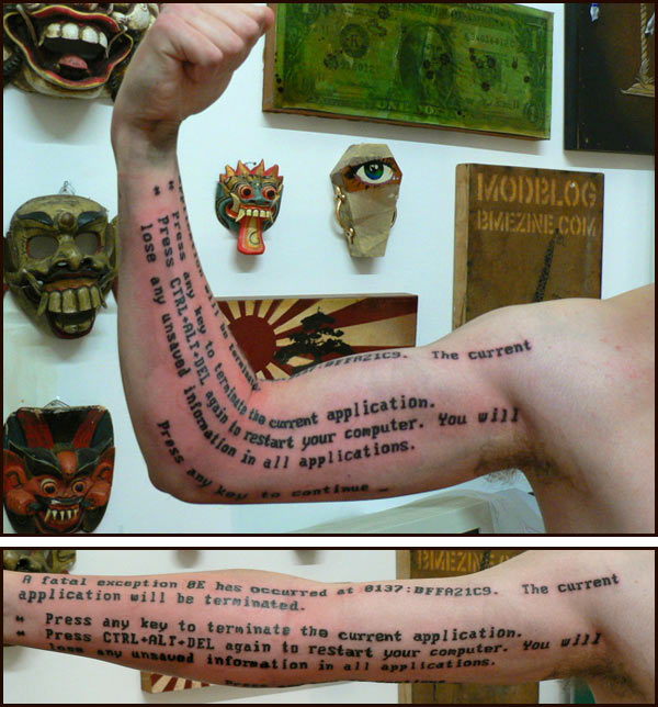 Blue Screen of Death Tattoo
