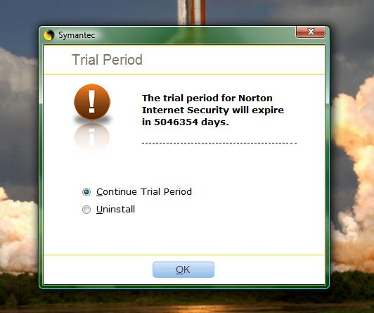 Symantec trial error 13,816 years