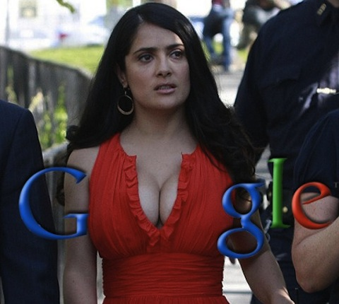 google logo - Salma hayek boobs